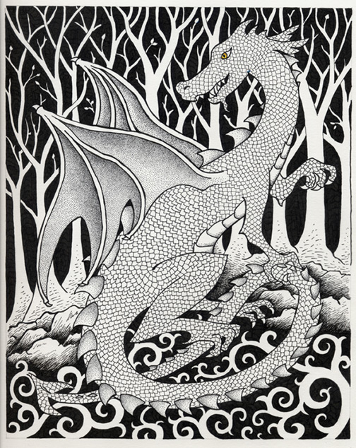 Dragon Pen and Ink Illustration