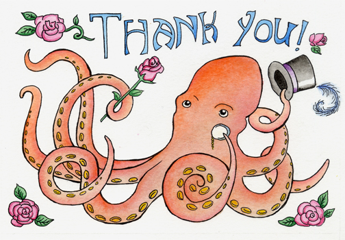 Octopus Thank you card