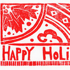 Happy Holiday Block Print Card